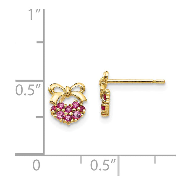 14k Madi K CZ Children's Heart and Bow Post Earrings