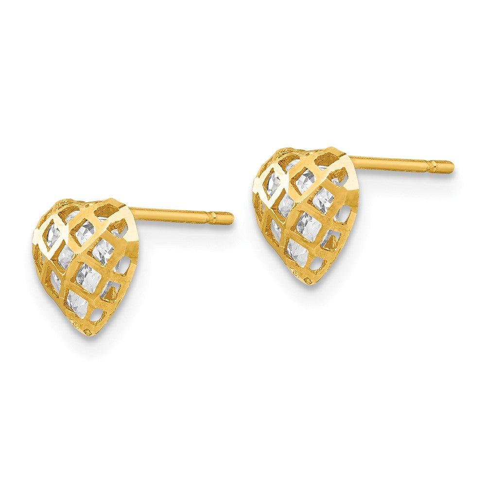 14k Madi K CZ D/C Children's Heart Post Earrings