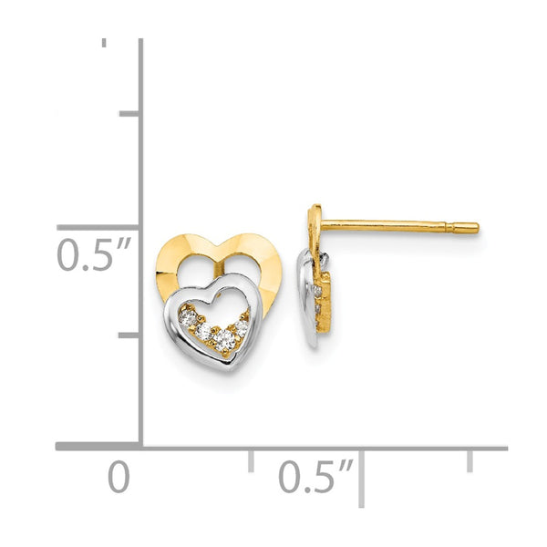 14k Madi K Two-tone CZ Children's Heart Post Earrings