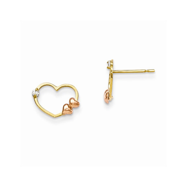 14k Yellow & Rose Madi K CZ Gold Children's Heart Post Earrings