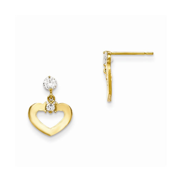 14k Madi K CZ Children's Heart Dangle Post Earrings