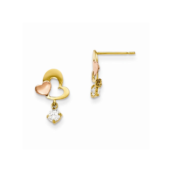 14k Yellow & Rose Gold Madi K CZ Heart Dangle Post Earrings