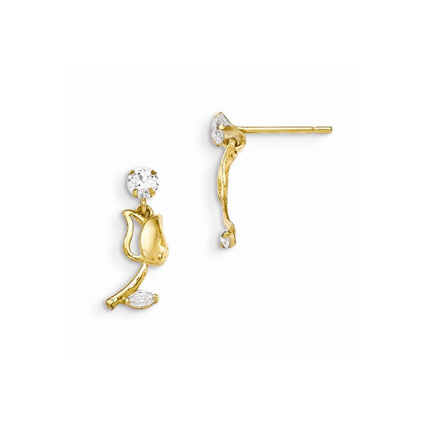 14k Madi K CZ Children's Tulip Dangle Post Earrings