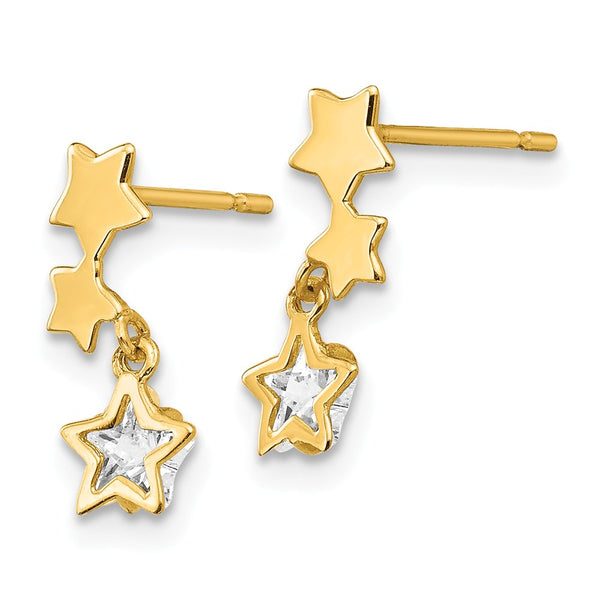 14k Madi K CZ Children's Star Dangle Post Earrings