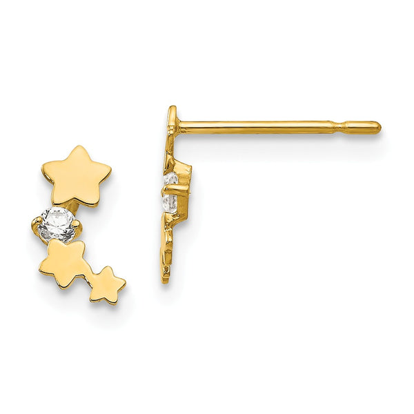 14k Madi K CZ Children's Star Post Earrings