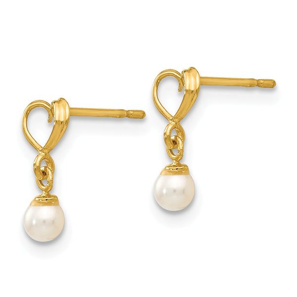 14k Madi K FW Cultured Pearl Heart Dangle Post Earrings