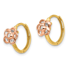 Load image into Gallery viewer, 14k Yellow & Rose Gold Madi K CZ Flower Hinged Hoop Earrings