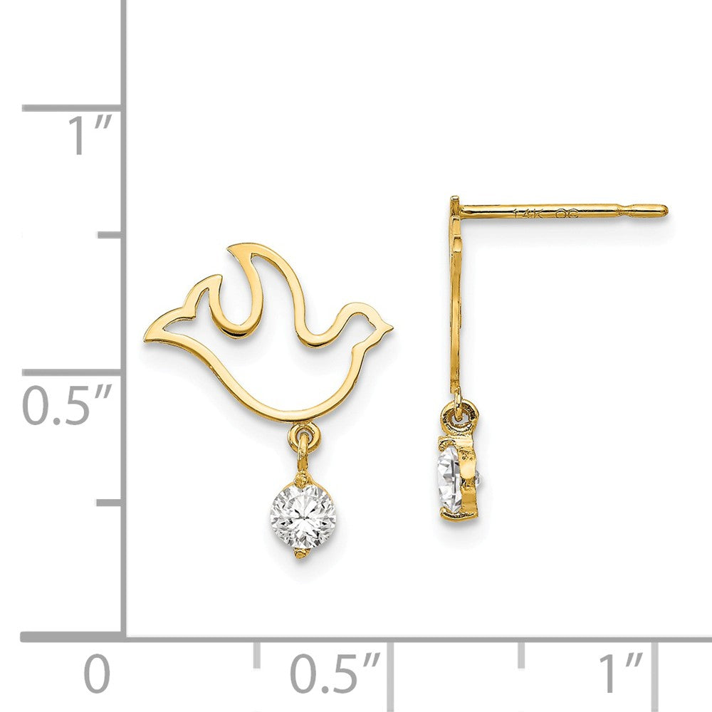 14k Madi K CZ Children's Dove Dangle Post Earrings