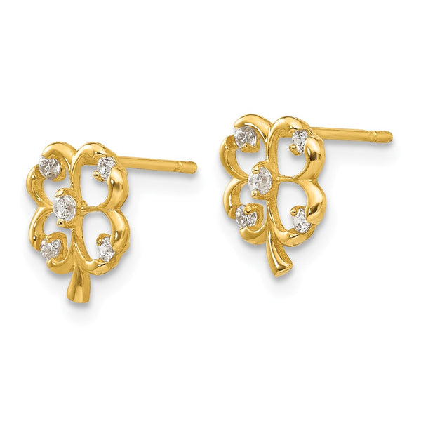 14k Madi K CZ Children's 4-leaf Clover Post Earrings