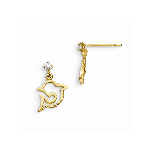 14k Madi K CZ Children's Dolphin Dangle Post Earrings