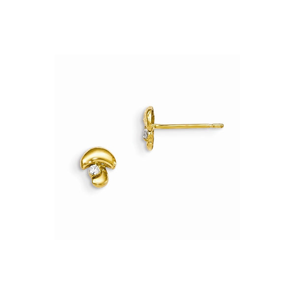 14k Madi K CZ Children's Mushroom Post Earrings