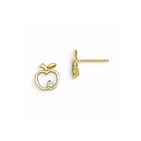 14k Madi K CZ Children's Apple Post Earrings