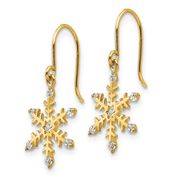 14k Madi K CZ Children's Snowflake Dangle Earrings