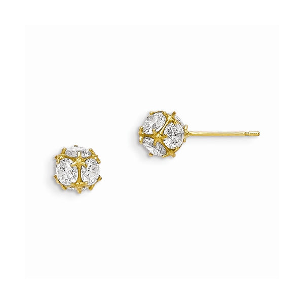 14k Madi K CZ Children's Ball Post Earrings