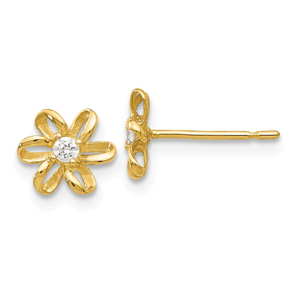 14k Madi K CZ Children's Flower Post Earrings
