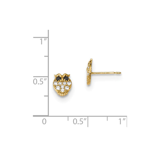 14k Madi K Kids Black & White CZ Owl Post Earrings
