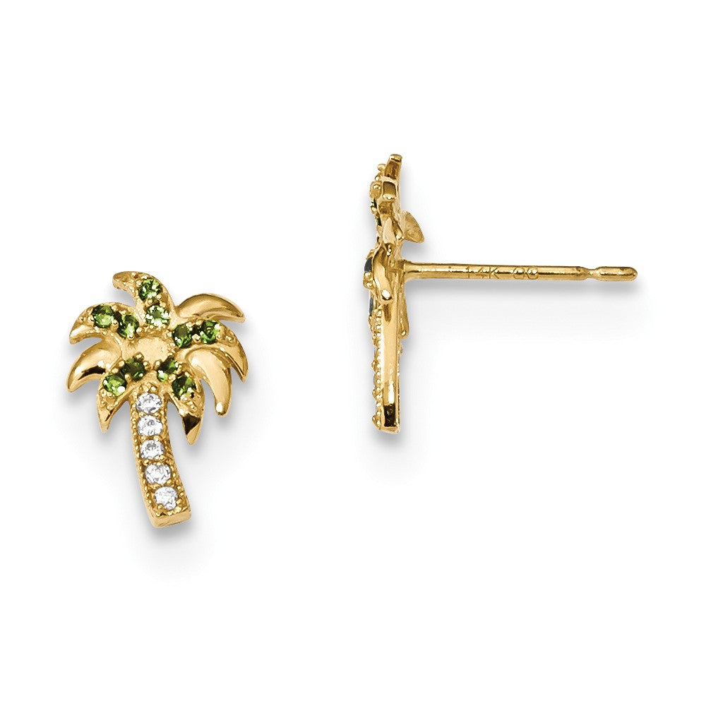 14k Madi K Green & Clear CZ Palm Tree Post Earrings