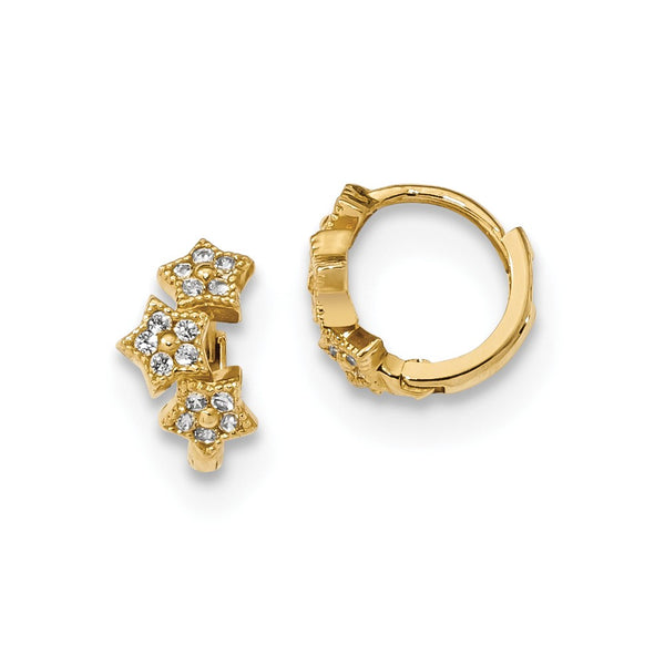 14k Madi K CZ 3-Star Hinged Hoop Earrings