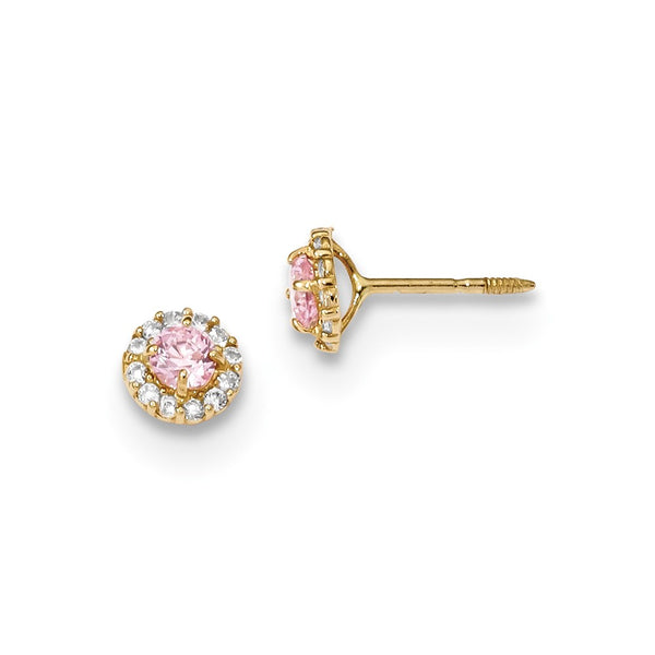 14k Madi K Polished Pink and Clear CZ Screwback Post Earrings