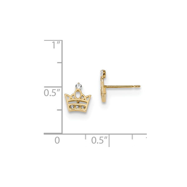 14k Madi K Kids CZ Crown Post Earrings