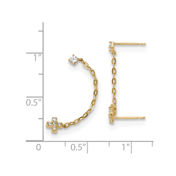 14k Madi K Double Post w/Chain CZ Cross Earring