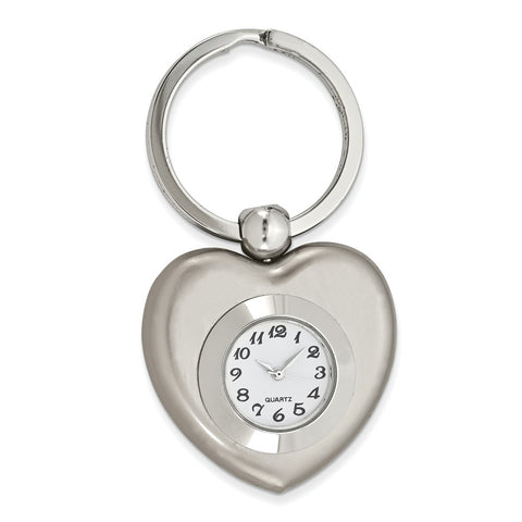 Nickel-plated Heart-Shaped Clock Key Ring