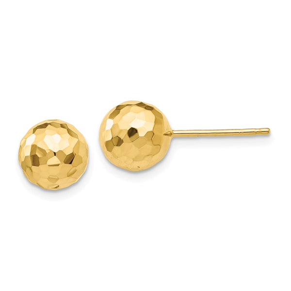 14K Gold Polished and Diamond Cut 8MM Ball Post Earrings