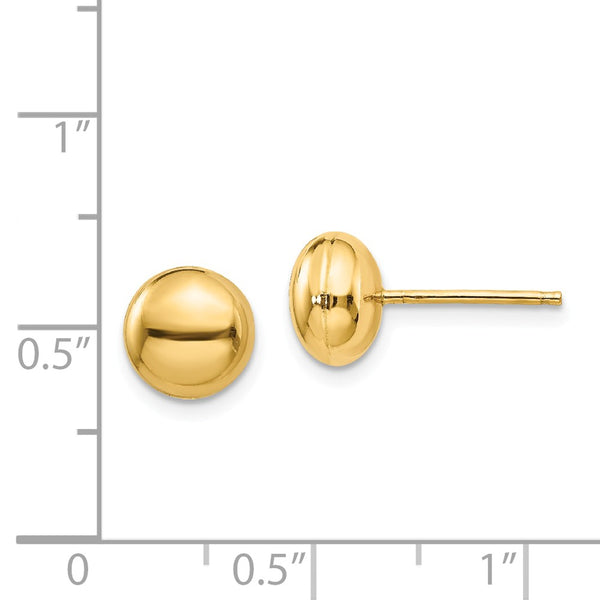 14k Polished 8mm Button Post Earrings