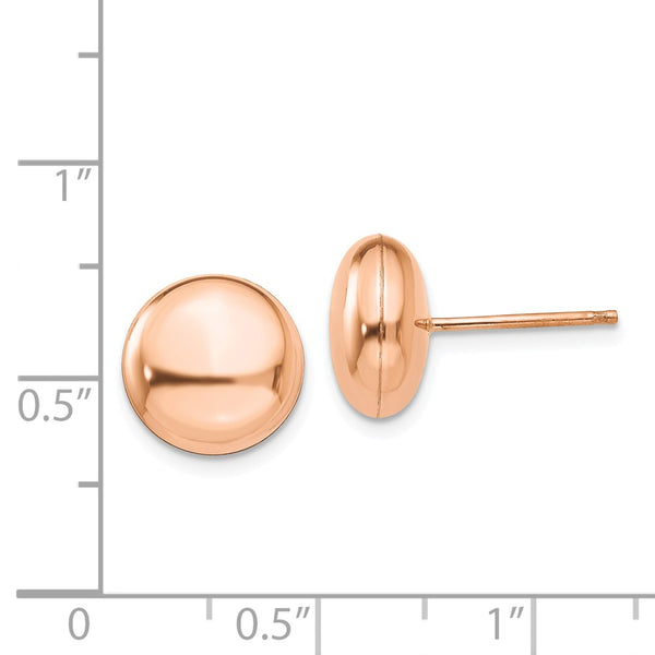 14k Rose Polished 10.5mm Button Post Earrings