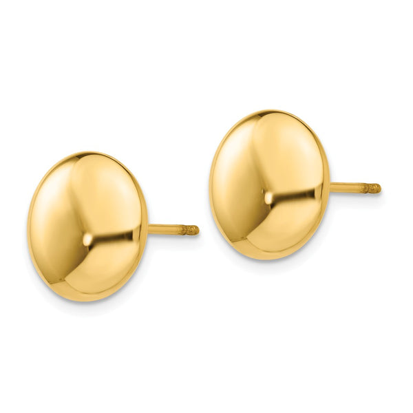 14k Polished 12mm Button Post Earrings