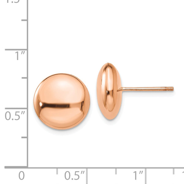 14k Rose Polished 12mm Button Post Earrings