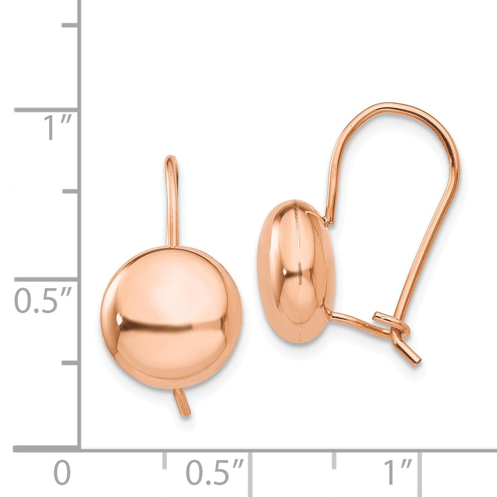 14k Rose Polished 10.5mm Button Kidney Wire Earrings