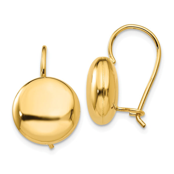 14k Polished 12mm Button Kidney Wire Earrings