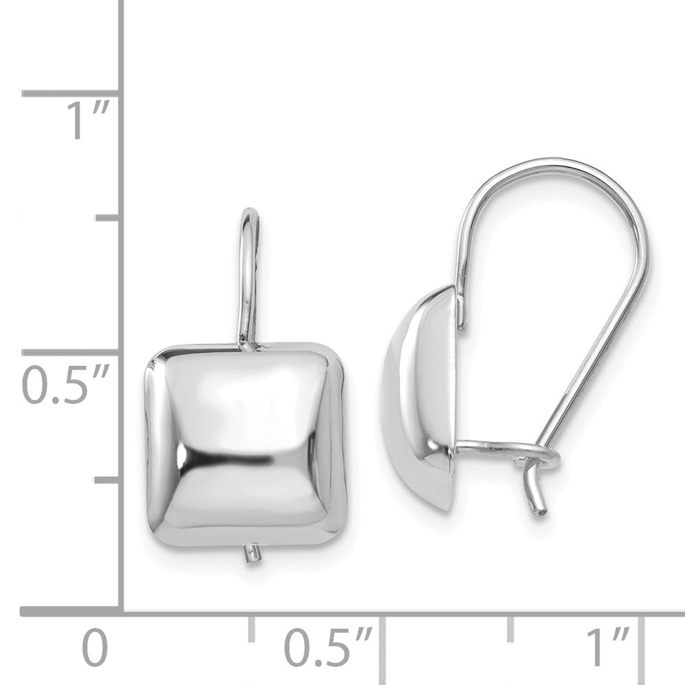 14k White Polished 9.5mm Puffed Square Kidney Wire Earrings