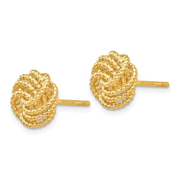 14K Textured Love Knot Post Earrings