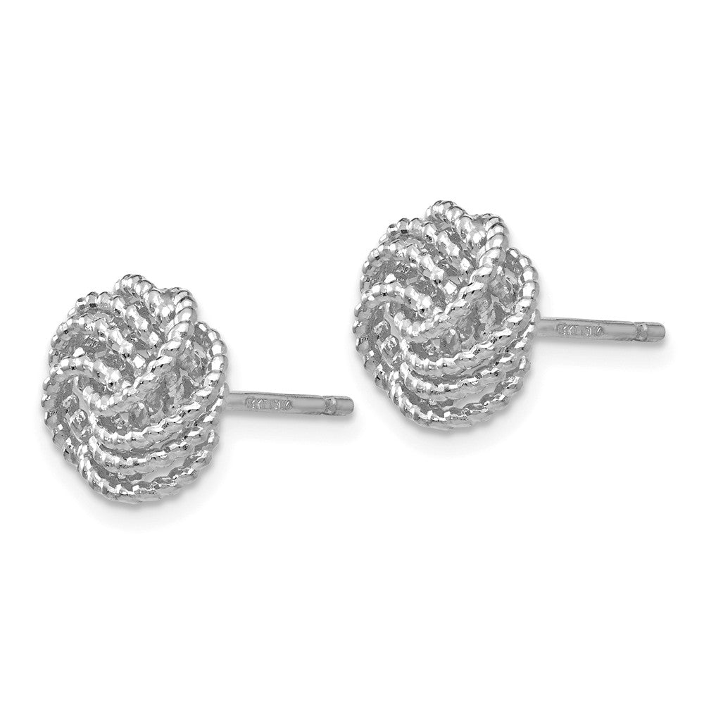 14K White Gold Textured Love Knot Post Earrings