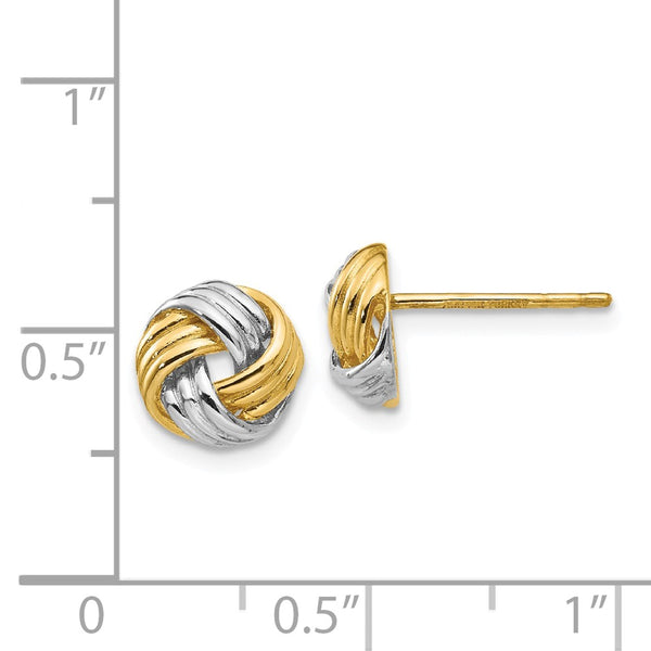 14K and Rhodium Polished Love Knot Post Earrings