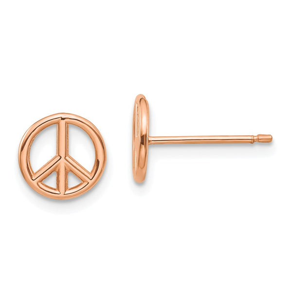 14K Rose Gold w/YG post & clutch 3-D Peace Symbol Post Earrings