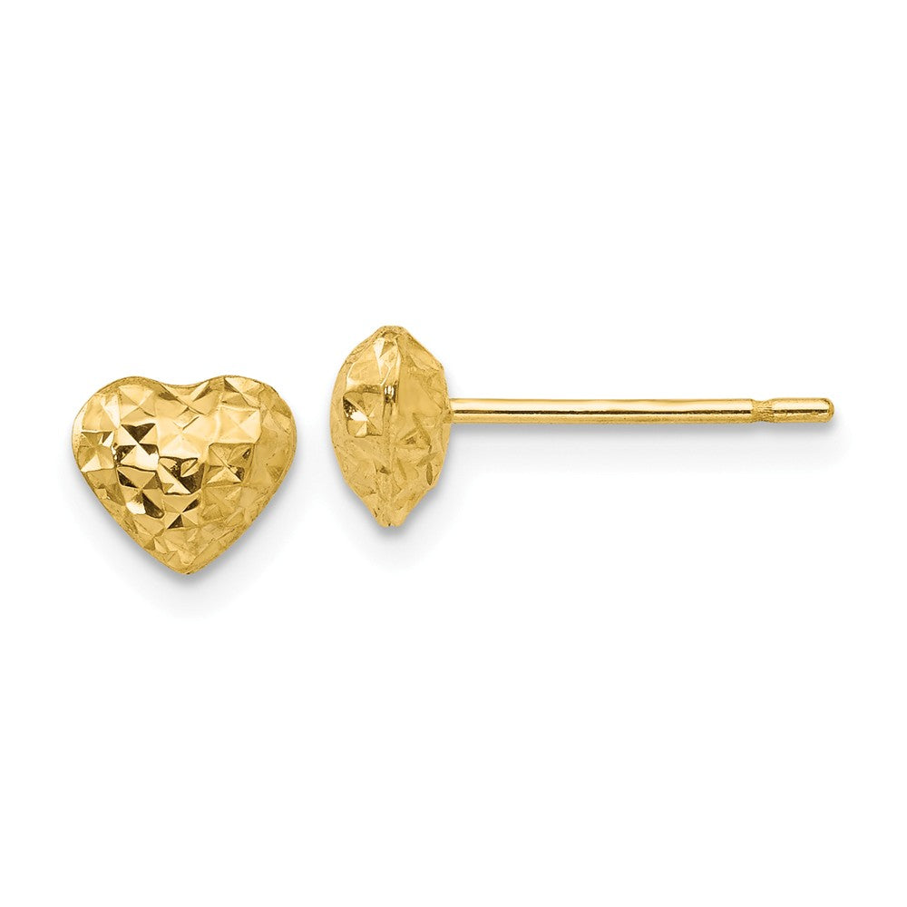 14K Diamond Cut Puffed Heart Post Earrings