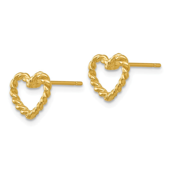14k Heart Post Earrings