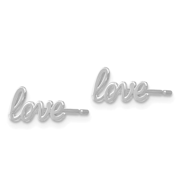 14k White Gold Polished Love Post Earrings