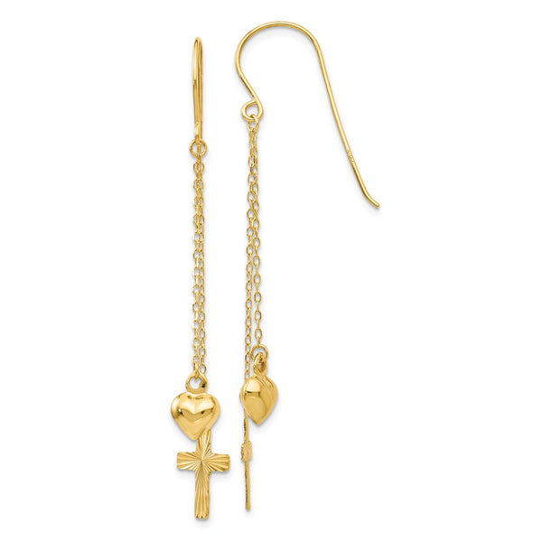 14K Ropa Chain Puffed Heart & D/C Cross Dangle Earrings