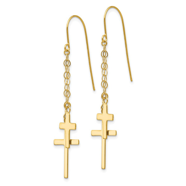14K Chain Dangle Cross Shepherd Hook Earrings