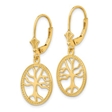 Load image into Gallery viewer, 14K Gold Polished Tree of Life in Round Frame Leverback Earrings