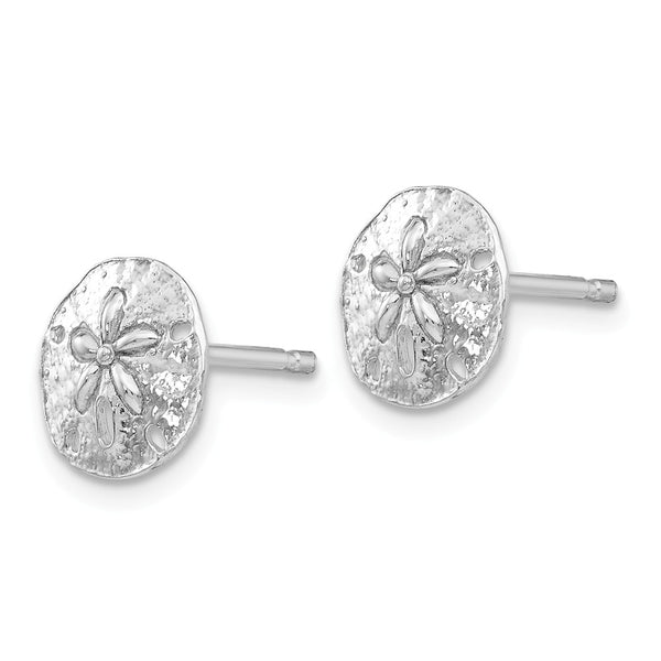 14K White Gold Polished Mini Sand Dollar Post Earrings