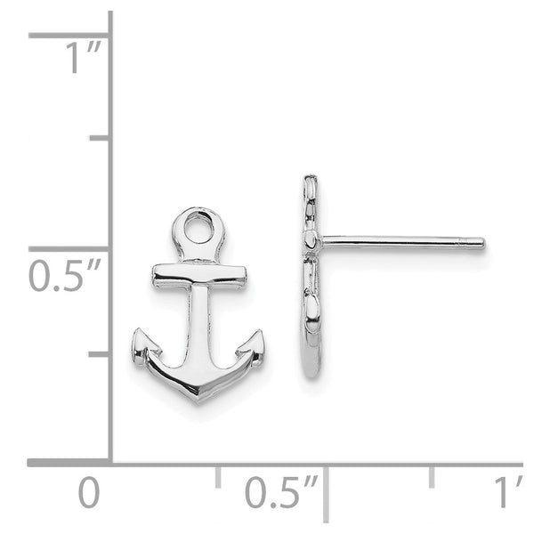 14K White Gold Polished Mini Anchor Post Earrings