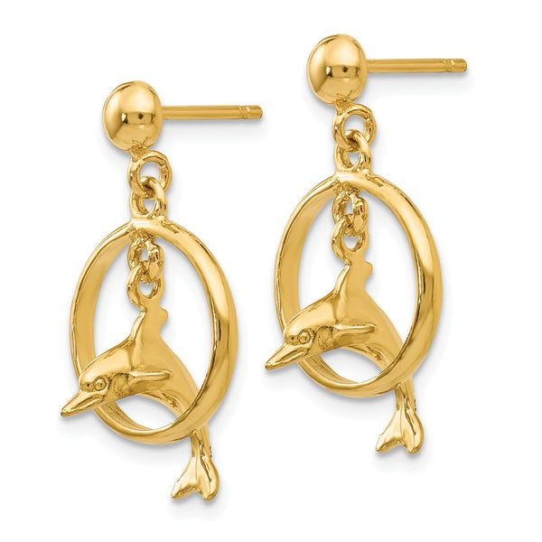 14K Polished 3-D Dolphin Jumping Through Hoop Dangle Earrings
