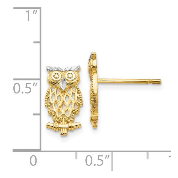 14k w/Rhodium Polished Cut-out Owl Post Earrings