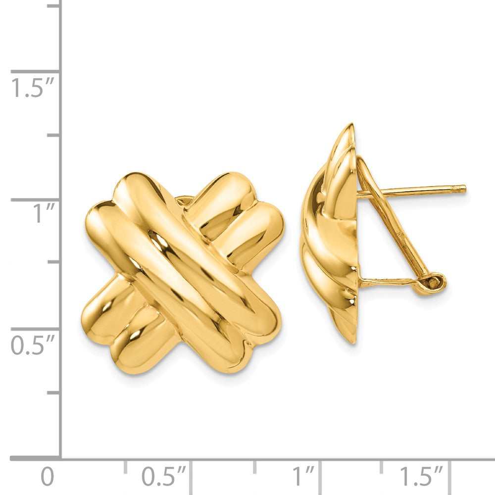 14k Polished X Omega Back Post Earrings