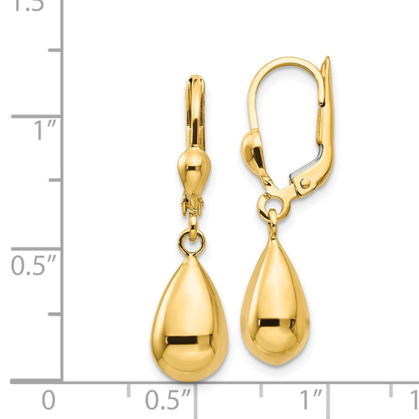14k Polished Fancy Dangle Leverback Earrings